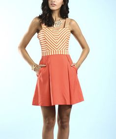 Another great find on #zulily! Coral Stripe & Solid Sleeveless Dress by Young Threads #zulilyfinds