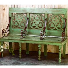 Wood Garden Bench with Carved Back Accent