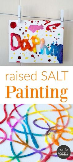 Raised salt painting is an all-time favorite kids art activity that is loved by all ages from toddlers on up. Plus it uses materials you already have, including salt, glue, and watercolor paint. #kidsart #kidspainting #kidsactivities #artforkids #paintingtechniques #artsandcrafts #preschoolers