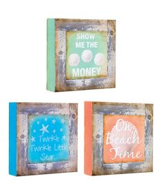 This Beach Time Tabletop Canvas - Set of Three is perfect! #zulilyfinds