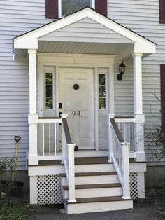 42 front porch ideas for small ranch style homes 35 Front Porch Steps, Small Front Porches, Front Porch Design, Side Porch, Porch Designs, House With Porch, House Front, Manufactured Home Porch, Deck Balusters
