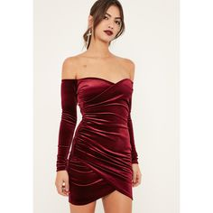 Missguided Burgundy Bardot Wrap Long Sleeve Velvet Dress (€34) ❤ liked on  Polyvore a9e6fe1dc