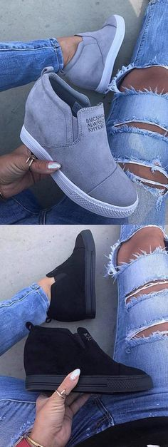 Buy 3 Got 8% OFF! Free Shipping! Shop Now>> Fashion Letter Slip On Wedge Sneakers Faux Suede Wedge Heel Casual Sneakers