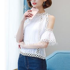 2017 New Fashion Tops Blouses Vadim Lace Shirt Loose Sleeve Head Show Thin Summer Real Trumpet Strapless Women Tops Plus New Fashion, Womens Fashion, Fashion Trends, New Style Tops, Shirt Blouses, Shirts, Casual Wear, Sleeves, How To Wear