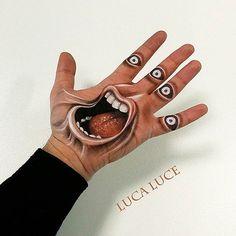 Les créations de hand painting dumakeup artist italienLuca Luce, qui s'amuse à dessiner sur sa propre main des illusions d'optiques très réalistes ! Une