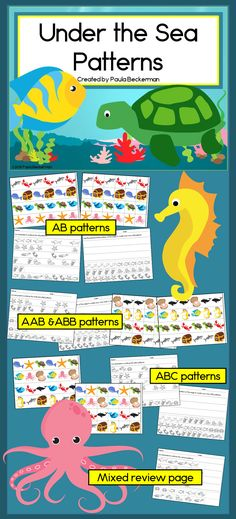 Ocean patterns with adorable graphics! Kids will love the fish, whales, turtles, crabs and other ocean animals. Perfect for a math center! TpT $