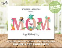 Flamingo Mother's Day Card - Mother's Day Printable - Tropical Card for Mom - Mom's Day - Happy Mother's Day - Gifts for Mom, Gifts for Mum Mothers Day Cards, Happy Mothers Day, Mother's Day Printables, Mother's Day Greeting Cards, Pastel Flowers, Mom Day, Gifts For Mum, Flamingo, Tropical