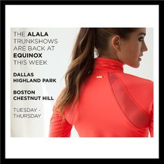 Come check out our new line at your local @Belinda Patterson. We are hosting Trunk Shows thru Thursday @ Equinox in Highland Park,(Dallas) TX & Chesnut Hill,(Boston) MA.  #fashion #fitness #activewear #alalalife #boston #dallas #bos #dal (at www.AlalaStyle.com)