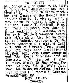 Barney Sampson  wife daughters page 35 of: San Antonio Light March 10, 1966