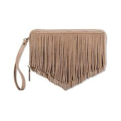 Women's with Zip Closure ($25) ❤ liked on Polyvore featuring bags, neutral, boho leather bag, boho fringe bag, leather bags, boho bags and bohemian bags