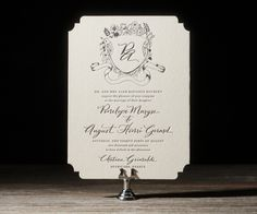 New for 2014, the Laurent invitation design by Jessica Tierney for Bella Figura features exquisite hand calligraphy by @Nicole Black Nicole Black and a gorgeous, hand drawn cartouche surrounded by beautiful flowers #Letterpress #Wedding