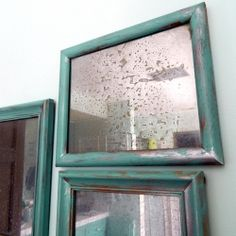 DIY Faux Antique Mirror with NO CHEMICALS. Inspired by Anthropologie. What you need: Thrift store picture frames with glass, a spray bottle with one part vinegar to 3 parts water, and the miracle product KRYLON LOOKING GLASS SPRAY PAINT.