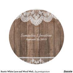 Rustic Barn Wood Lace & String Lights Wedding Paper Plate | Wedding ...