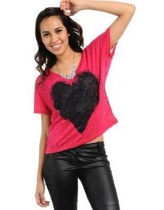 I Heart You Shirt Cerise. Balance this shirts girliness by teaming ith with coated skinny jeans and ankle booties. Add a statement necklace and oversized bag.. See More Blouses and Shirts at http://www.ourgreatshop.com/Blouses-Shirts-C78.aspx