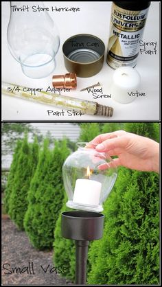 Trash and Thrift Store Treasure = Outdoor Candle Lantern
