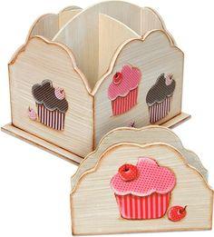 Porta talheres com cupcakes de tecido: