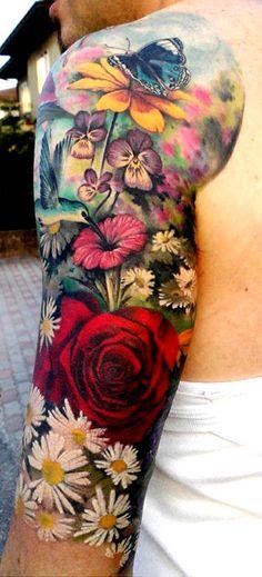 colorful flowers, tattoo ideas, tattoo flowers, sleeve tattoos, daisi, tattoo sleeves, flower tattoos, floral tattoos, tattoo ink