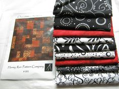 """Quilt Kit Black White and Red Fabric*Chocolate Patchwork Pattern*58"""" x 68"""" Quilt*Fabric and Quilt Kit*4 1/2 Yards Quilters Cotton*Honey Run by CedarCoveRetro on Etsy"""