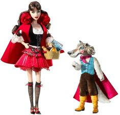 MATTEL BARBIE poupée brune LE PETIT CHAPERON ROUGE ET LE LOUP - little red riding hood and the wolf - collector 2008: Amazon.fr: Jeux et Jouets