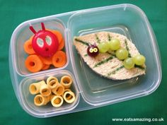 The Very Hungry Caterpillar Themed Lunch bento box, box idea, fun food, lunch boxes, school lunch, easter bento, kid lunch, hungry caterpillar, hungri caterpillar