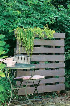 Palettensichtschutz grün bepflanzt