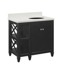 Hayes Contemporary 36 in. Vanity in Black with Engineered Stone Vanity Top in White-36BV7024-O134 at The Home Depot