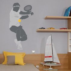 Make your kids' fantasies come true with these giant Tennis Player wall stickers. Simply peel and stick the modern kids' wall decal to transform your kids' room into a private tennis court.$69.95