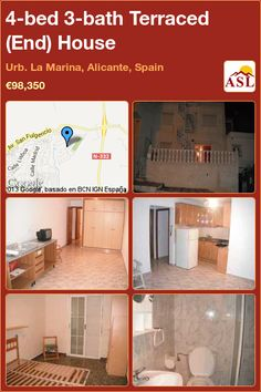 4-bed 3-bath Terraced (End) House in Urb. La Marina, Alicante, Spain ►€98,350 #PropertyForSaleInSpain