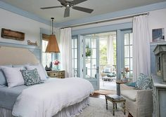 coastal bedroom | Georgia Carlee. Very cool. White with blue trim.