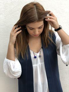 Dart clothing - handmade waistcoat - made in Greece Greek Fashion, Slow Fashion, Tassel Necklace, Fashion Brands, Greece, Clothes For Women, Clothing, Handmade, Blue
