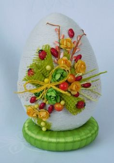 PIĘKNE JAJKO,PISANKA,OZDOBY WIELKANOCNE,RĘKODZIEŁO 7802139849 - Allegro.pl Easter Projects, Easter Crafts, Christmas Crafts For Kids, Christmas Decorations, Quinceanera Decorations, Easter Crochet, Happy Easter, Easter Eggs, Diy And Crafts