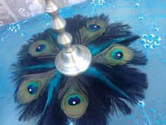 ONE 18 Black Ostrich and Crystal Peacock Feather mat by Ivyndell, $38.00