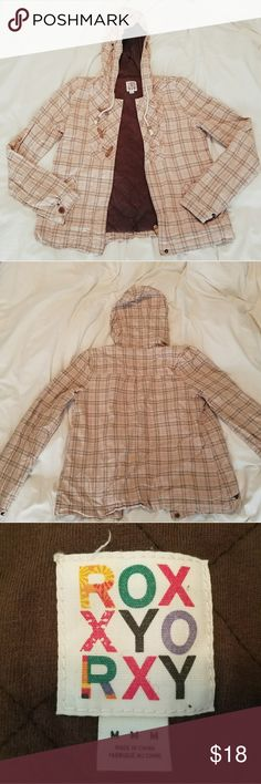 Brown Roxy jacket EUC Beige Roxy jacket.  Perfect condition.  This beige jacket will be a great closet addition.  Offers ok! Bundle and save. Trades ok. Roxy Jackets & Coats