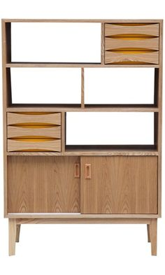 Kardiel Vodder 4-Tier Upright Cabinet with Mid-century Modern Bookcase, Natural Ash Wood Best Price