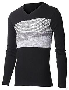 FLATSEVEN Mens Slim Fit V-neck Long Sleeve Three Stage Jacquard Point Tee Shirt (TVL3000) Black, L FLATSEVEN http://www.amazon.com/dp/B00RHYQZXI/ref=cm_sw_r_pi_dp_n-XYub022X7P3 #CASUAL #TEE #FLATSEVEN #VNECK