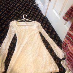 Long sleeve lace dress long sleeve tight dress, White, long sleeve swoop neckline Charlotte Russe Dresses