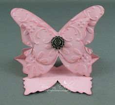 This card uses SU's Blushing Bride  card stock and ink, the  Beautiful Butterflies Bigz Die and Antique Brads .  The sentiment is fro...