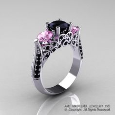 14K Weissgold drei Stein leichte rosa Saphir schwarz Diamant Solitär Ring R200-14KWGBDLPS