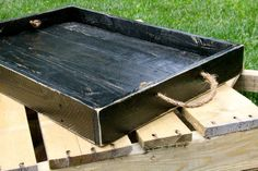 Reclaimed Pallet Wood - Black Rustic Style Serving Tray on Etsy, $80.00