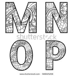 Set of vector big letters with pattern doodle. Letter M, N, O, P.