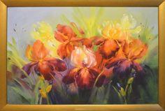 Obraz olejny irysy w złotej ramce