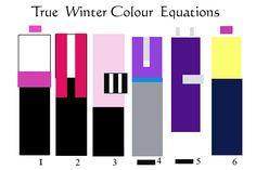 True Winter  If you see light icy gray, feel free to sub in diamond and platinum, certainly neutrals for you. These also can be used in place of white to set the high contrast range with black.  Very purple, this Tone. Not much red, but a lot of pink, fuchsia, and purple. No. 5′s purple is also a near neutral colour for True Winter, more magnificent than black against the skin tone.