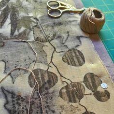 Eco print on old linen w/iron mordant