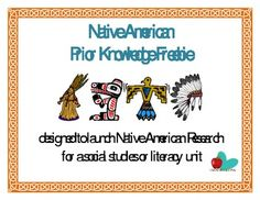 Assess students' prior knowledge (and stereotypes/misconceptions) of Native Americans with this open ended prior knowledge questionnaire. Students ...