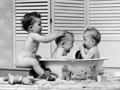 Three Babies in Wash Tub, Bathing Photographic Print by H. Armstrong Roberts at Art.com