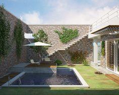"""2015_ PROGETTO """"Villa a patio"""", Manduria (TA), vista giardino 2."""