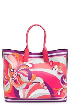 Free shipping and returns on Emilio Pucci 'Large' Tote at Nordstrom.com. Iconic Pucci graphics bring high-fashion style to an Italian-crafted tote that will take you beachside and beyond. A matching zip pouch secures smaller items, perfect for everyday essentials or travel take-alongs.