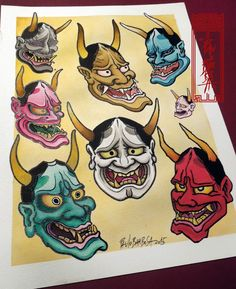 Tattoo Flash Art by Paulo Barbosa - Ariuken Art on Facebook Dragon Tattoo Flash, Tattoo Flash Art, Hannya Mask Tattoo, Hanya Tattoo, Old School Tattoo Designs, Japanese Tattoo Designs, Japanese Demon Tattoo, Koi, Tattoo Coloring Book