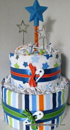 Boy Baby Shower Diaper Cake Star Diaper Cake by MsCarlasBabyCakes, $42.00