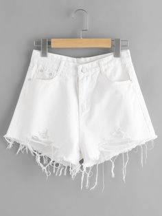 SheIn offers Destroyed Fray Hem Denim Shorts & more to fit your fashionable needs. Distressed Denim Shorts, Denim Shorts Style, White Denim Shorts, Ripped Denim, Jean Shorts, Ripped Shorts, Women's Shorts, Teenage Girl Outfits, Teenager Outfits